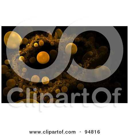 Royalty-Free (RF) Clipart Illustration of a Background Of Orange Microscopic Orbs Over Black by chrisroll