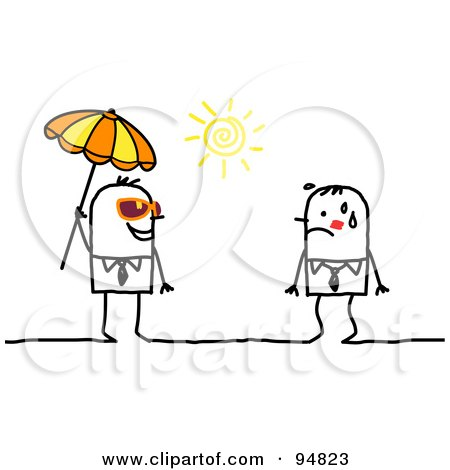 Royalty-Free (RF) Clipart Illustration of a Stick People Man Under A Parasol, Approaching A Hot Man by NL shop