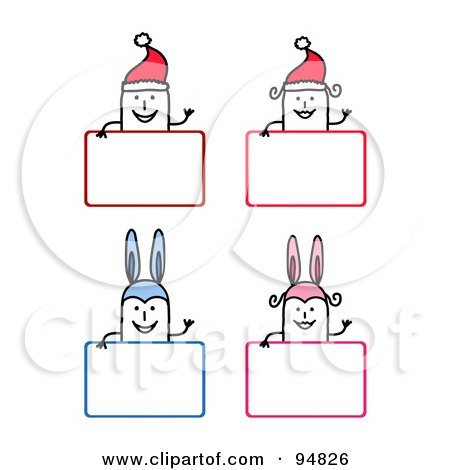 Royalty-Free (RF) Clipart Illustration of Stick People Men And Women Wearing Bunny Ears And Santa Hats Over Christmas And Easter Signs by NL shop