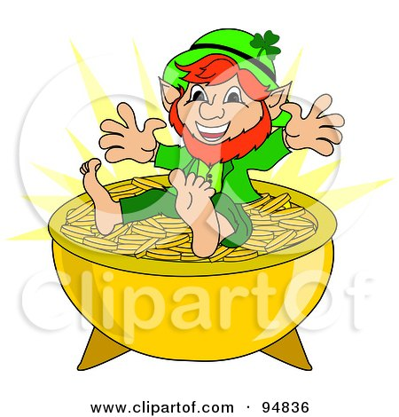 clipart leprechaun hat and pot of gold on shamrocks at the end of    happy short leprechaun sitting on top of a pot of gold coins