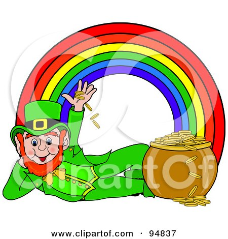 Royalty-Free (RF) Clipart Illustration of a Reclined Leprechaun Playing With Gold Coins At The End Of A Rainbow by Pams Clipart