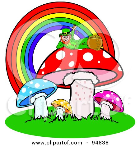 Royalty-Free (RF) Clipart Illustration of a Leprechaun Reclined Atop A Mushroom Under A Rainbow, With His Pot Of Gold by Pams Clipart