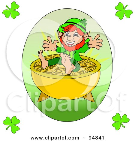 Royalty-Free (RF) Clipart Illustration of a Happy Short Leprechaun On Top Of A Pot Of Gold, With Clover Corners by Pams Clipart
