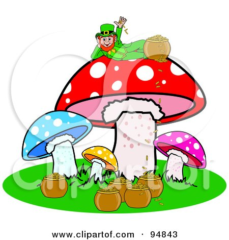 Royalty-Free (RF) Clipart Illustration of a Leprechaun With His Pot Of Gold, Reclined On Top Of A Mushroom by Pams Clipart
