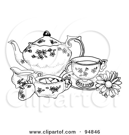 Royalty-Free (RF) Clipart Illustration of a Black And White Pen And Ink Styled Tea Set by C Charley-Franzwa