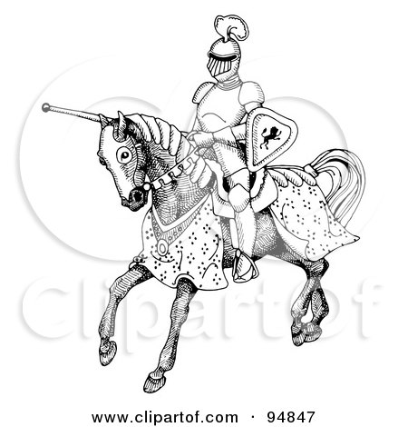 Royalty-Free (RF) Clipart Illustration of a Black And White Jousting Knight Riding On His Steed by C Charley-Franzwa