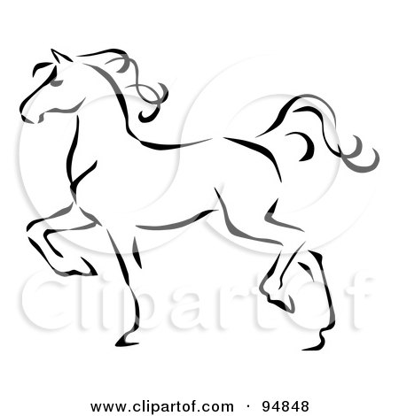 Royalty-Free (RF) Clipart Illustration of a Graceful Black Line Art Trotting Horse Profile by C Charley-Franzwa