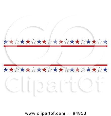 Royalty-Free (RF) Clipart Illustration of a Patriotic Border Of Red, White And Blue Grungy American Stars With Text Space by C Charley-Franzwa