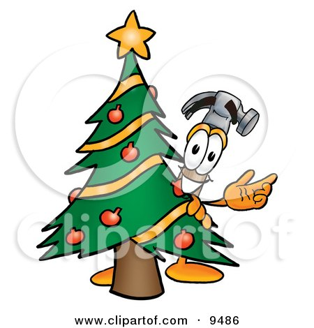 Clipart Picture of a Hammer Mascot Cartoon Character Waving and Standing by a Decorated Christmas Tree by Toons4Biz