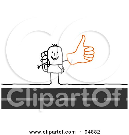 Royalty-Free (RF) Clipart Illustration of a Stick People Man Hitchhiking by NL shop