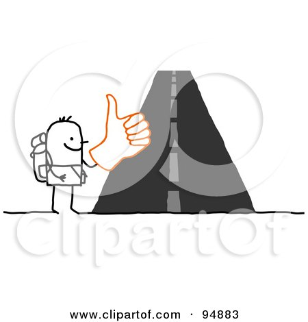 Royalty-Free (RF) Clipart Illustration of a Stick People Man Trying To Hitch A Ride by NL shop