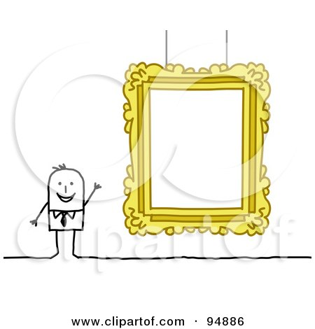 Royalty-Free (RF) Clipart Illustration of a Stick People Man Presenting A Blank Gallery Frame by NL shop