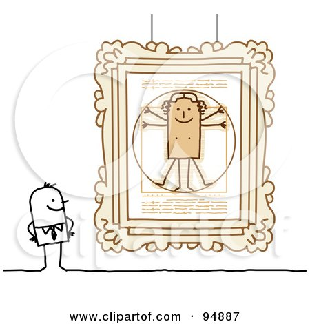 Royalty-Free (RF) Clipart Illustration of a Stick People Man Viewing Paintings In A Gallery Or Museum - 2 by NL shop