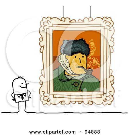 Royalty-Free (RF) Clipart Illustration of a Stick People Man Viewing Paintings In A Gallery Or Museum - 4 by NL shop