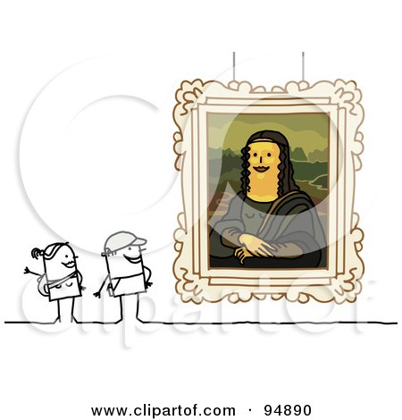Royalty-Free (RF) Clipart Illustration of a Stick People Couple Viewing The Mona Lisa by NL shop