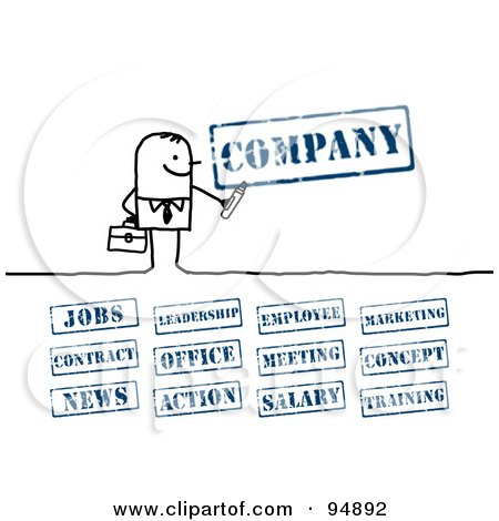 Royalty-Free (RF) Clipart Illustration of a Digital Collage Of A Stick People Businessman With Company Stamps by NL shop