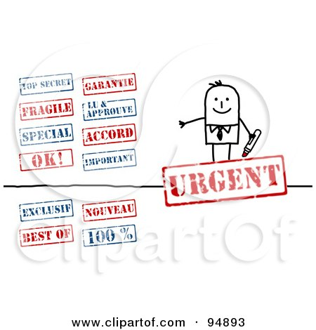 Royalty-Free (RF) Clipart Illustration of a Digital Collage Of A Stick People Businessman With Red And Blue Stamps by NL shop
