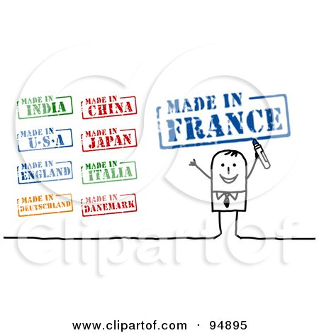 Royalty-Free (RF) Clipart Illustration of a Digital Collage Of A Stick People Businessman With Made In Stamps by NL shop