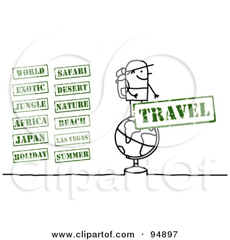 Royalty-Free (RF) Clipart Illustration of a Digital Collage Of A Stick People Traveler With Stamps by NL shop