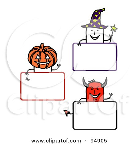 Royalty-Free (RF) Clipart Illustration of a Digital Collage Of Blank Halloween Stick People Signs by NL shop