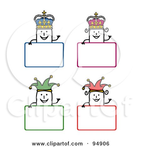 Royalty-Free (RF) Clipart Illustration of a Digital Collage Of Blank Stick People King, Queen And Jester Signs by NL shop