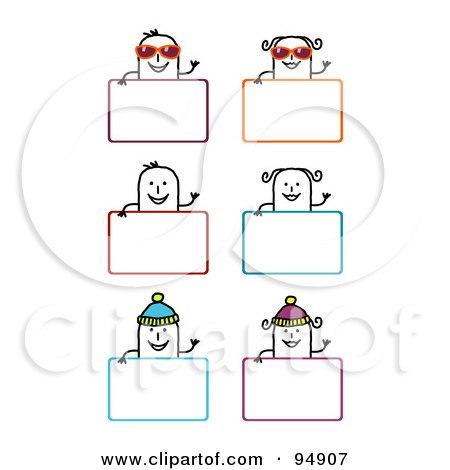 Royalty-Free (RF) Clipart Illustration of a Digital Collage Of Blank Summer And Winter Stick People Signs by NL shop