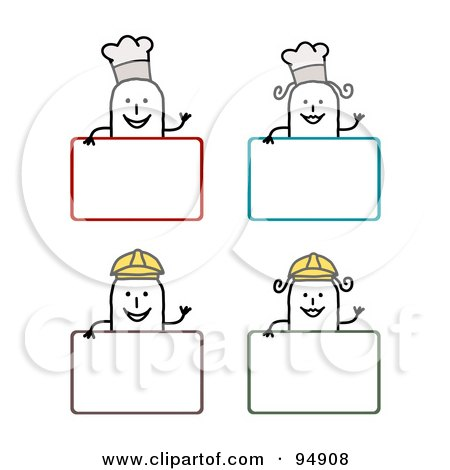 Royalty-Free (RF) Clipart Illustration of a Digital Collage Of Blank Chef And Construction Worker Stick People Signs by NL shop