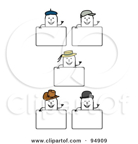 Royalty-Free (RF) Clipart Illustration of a Digital Collage Of Blank Hat Stick People Signs by NL shop