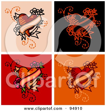 Royalty-Free (RF) Clipart Illustration of a Digital Collage Of Blank Banner And Heart Tattoo Designs by NL shop
