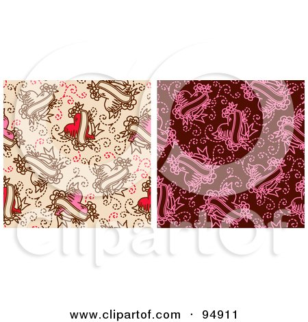 Royalty-Free (RF) Clipart Illustration of a Digital Collage Of Two Heart Tattoo Background Patterns by NL shop