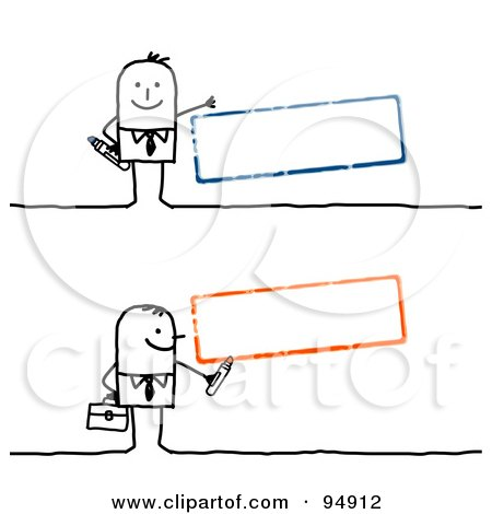 Royalty-Free (RF) Clipart Illustration of a Digital Collage Of A Stick People Man With Blank Blue And Orange Text Boxes by NL shop