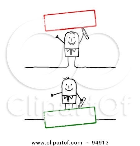 Royalty-Free (RF) Clipart Illustration of a Digital Collage Of A Stick People Man With Blank Red And Green Text Boxes by NL shop