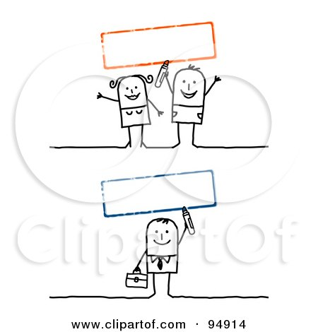 Royalty-Free (RF) Clipart Illustration of a Digital Collage Of Blank Red And Green Text Boxes With A Stick People Man And Couple by NL shop