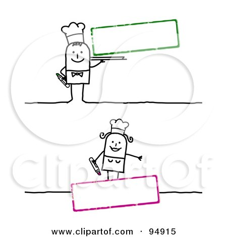 Royalty-Free (RF) Clipart Illustration of a Digital Collage Of A Blank Text Boxes With Stick People Chefs by NL shop