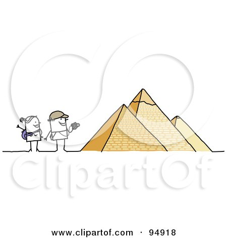 Royalty-Free (RF) Clipart Illustration of a Stick People Tourist Couple Visiting The Egyptian Pyramids by NL shop