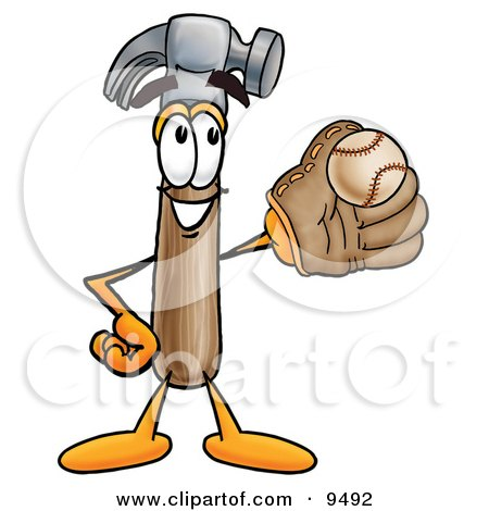 Clipart Picture of a Hammer Mascot Cartoon Character Catching a Baseball With a Glove by Toons4Biz