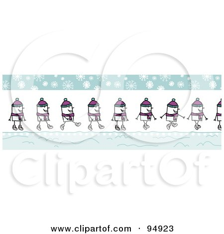 Royalty-Free (RF) Clipart Illustration of a Border Of A Happy Stick People Man Walking On A Snowy Winter Day by NL shop