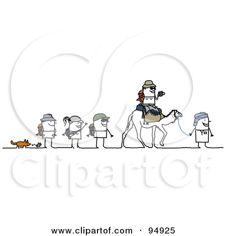 Royalty-Free (RF) Clipart Illustration of a Stick People Group Trekking The Desert by NL shop