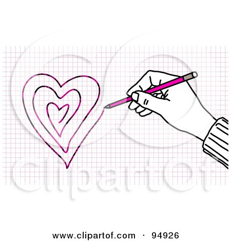 Royalty-Free (RF) Clipart Illustration of a Hand Drawing Hearts On Graph Paper With A Pencil by NL shop