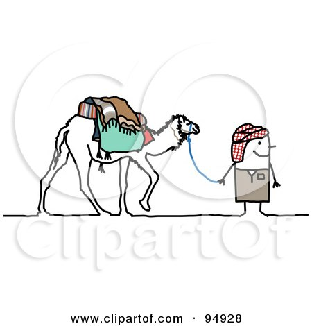 Royalty-Free (RF) Clipart Illustration of a Stick People Man Walking With A Camel In The Desert by NL shop