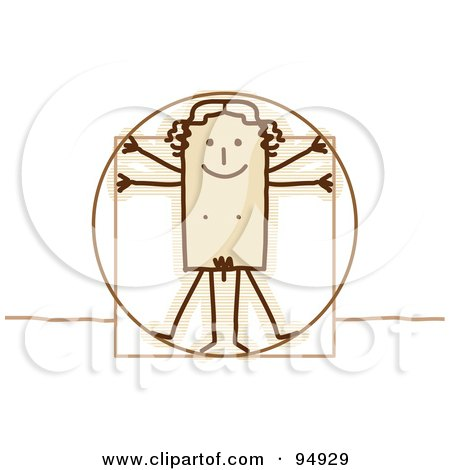 Royalty-Free (RF) Clipart Illustration of a Stick People Vitruvian Man by NL shop
