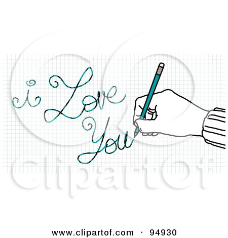 Royalty-Free (RF) Clipart Illustration of a Hand Writing I Love You On Graph Paper With A Pencil by NL shop