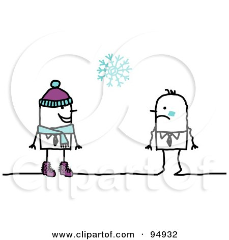 Royalty-Free (RF) Clipart Illustration of a Stick People Man In Winter Clothing, Approaching A Cold Man by NL shop