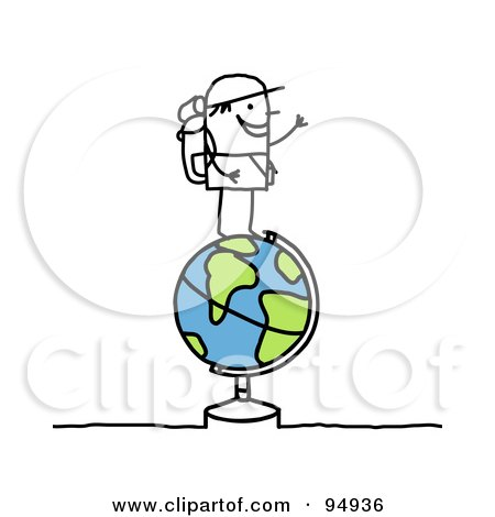 Royalty-Free (RF) Clipart Illustration of a Stick People Man Traveler Standing On Top Of A Globe by NL shop