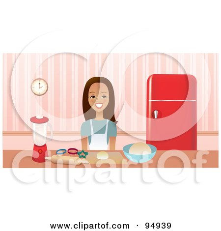 Royalty-Free (RF) Clipart Illustration of a Brunette Woman Smiling While Baking Cookies In A Kitchen by Monica