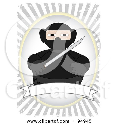 Royalty-Free (RF) Clipart Illustration of a Ninja In Black Over A Blank Banner On A Grungy Gray Ray Background by mheld