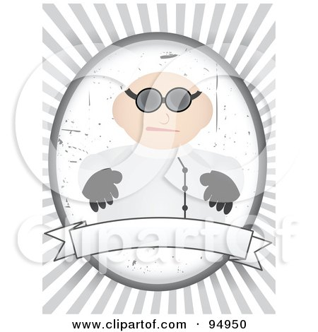 Royalty-Free (RF) Clipart Illustration of a Mad Doctor Over A Blank Banner On A Gray And White Ray Background by mheld