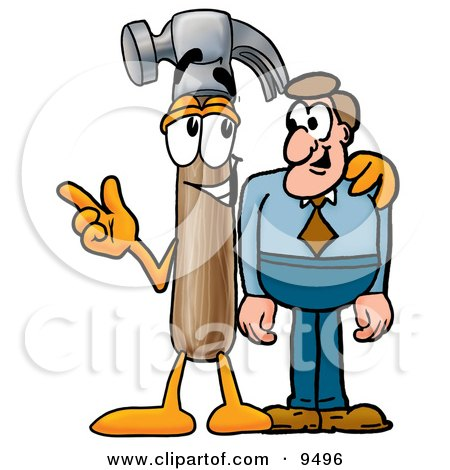 Clipart Picture of a Hammer Mascot Cartoon Character Talking to a Business Man by Toons4Biz