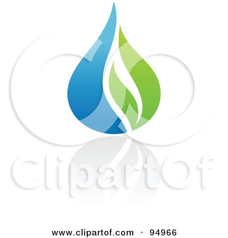 Royalty-Free (RF) Clipart Illustration of a Blue And Green Organic And Ecology Water Drop Logo Design Or App Icon - 2 by elena