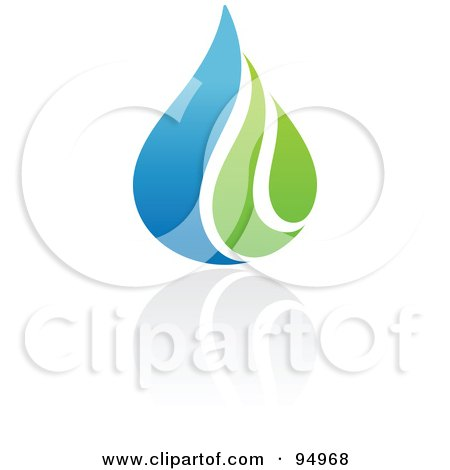 Royalty-Free (RF) Clipart Illustration of a Blue And Green Organic And Ecology Water Drop Logo Design Or App Icon - 4 by elena